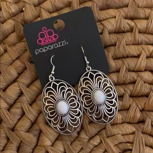 White and Silver Filigree earrings